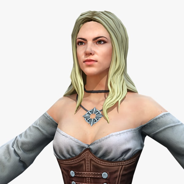 3D model real-time rigged pirate female