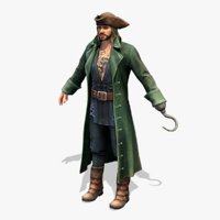 real-time rigged pirate green 3D model