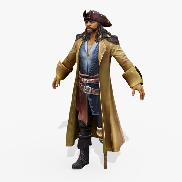 real-time rigged yellow captain model