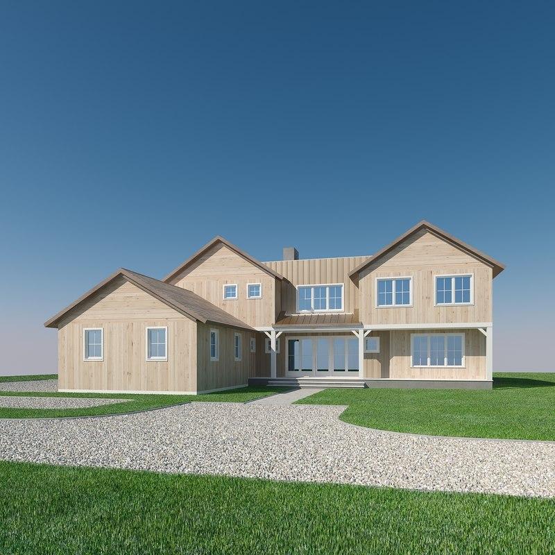 3D model wood family residence