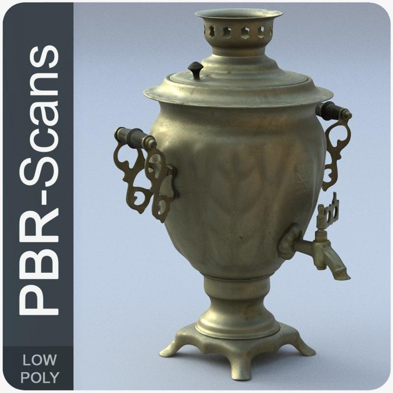 3D old tea-urn