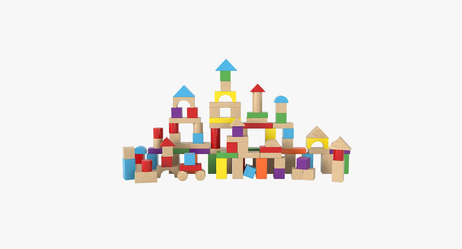 3D wooden building blocks model