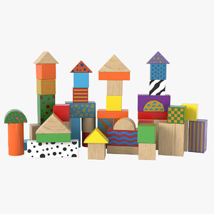 3D wooden building blocks model