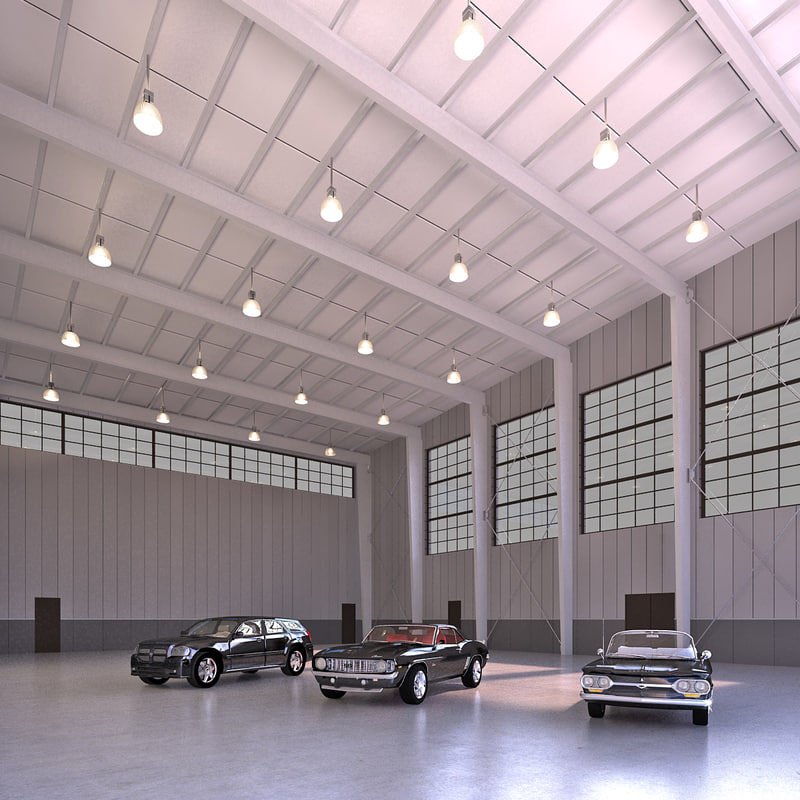 interior hangar cars 3D model