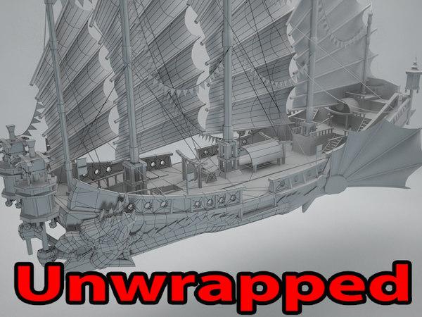 3D asian ship
