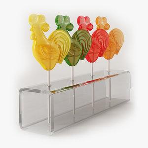 rooster lollipops 3D model