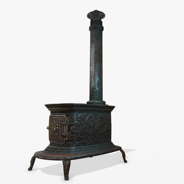 3D old stove pbr model