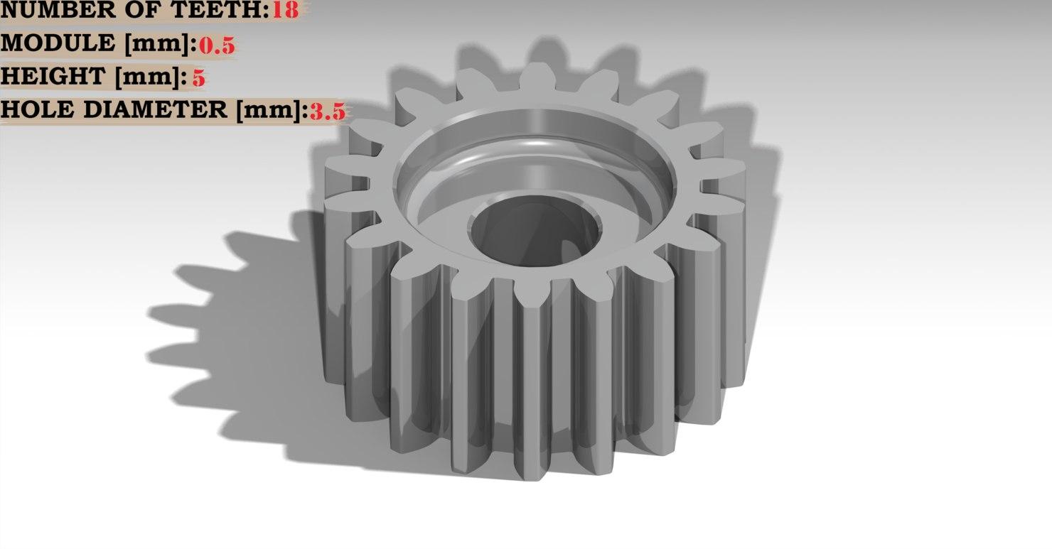 3D spur gear theet: 18