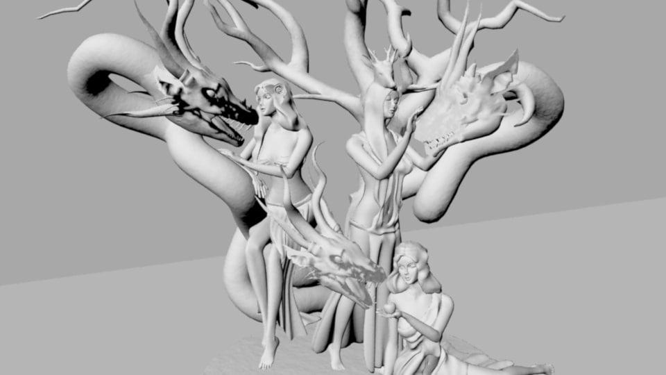 statues 3D model