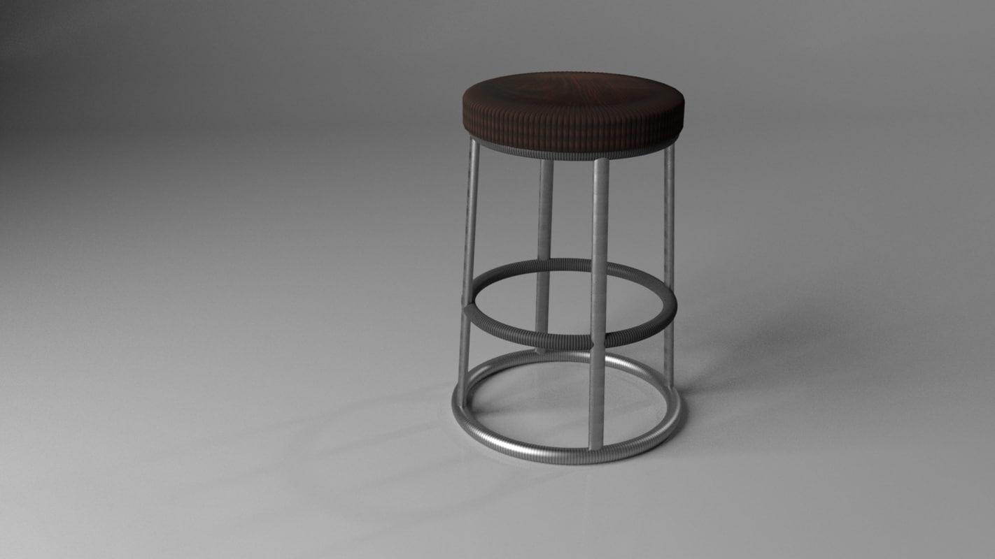 wooden bar stool 3D model