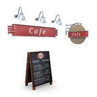 3D cafe signs model