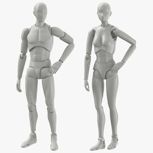 3D male female mannequins rigged model