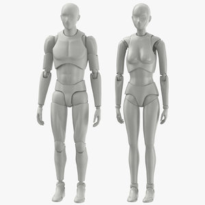 male female mannequins 3D model