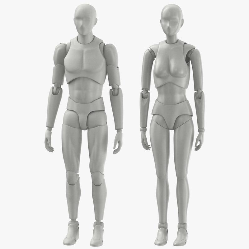 male female mannequins 3D model