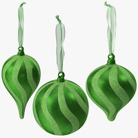 christmas ornaments green 01 3D