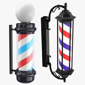 3D barber shop poles