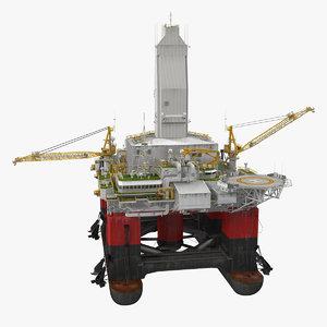 3D model semi submersible drilling rig