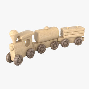 wooden toy train 3D