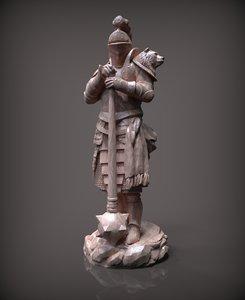 3D chess bishop white model