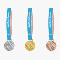 3D olympic medal gold silver model