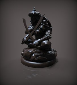 3D model chess pawn black