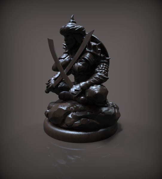 3D model chess pawn black