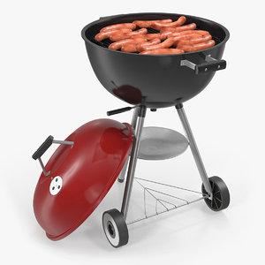 3D grilling sausages