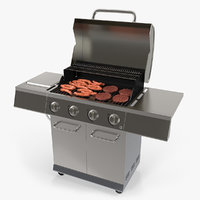 Gas Grill with Sausages