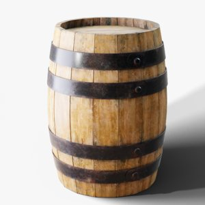 3D model realistic wooden barrel