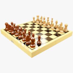 chess set chessboard 3D model