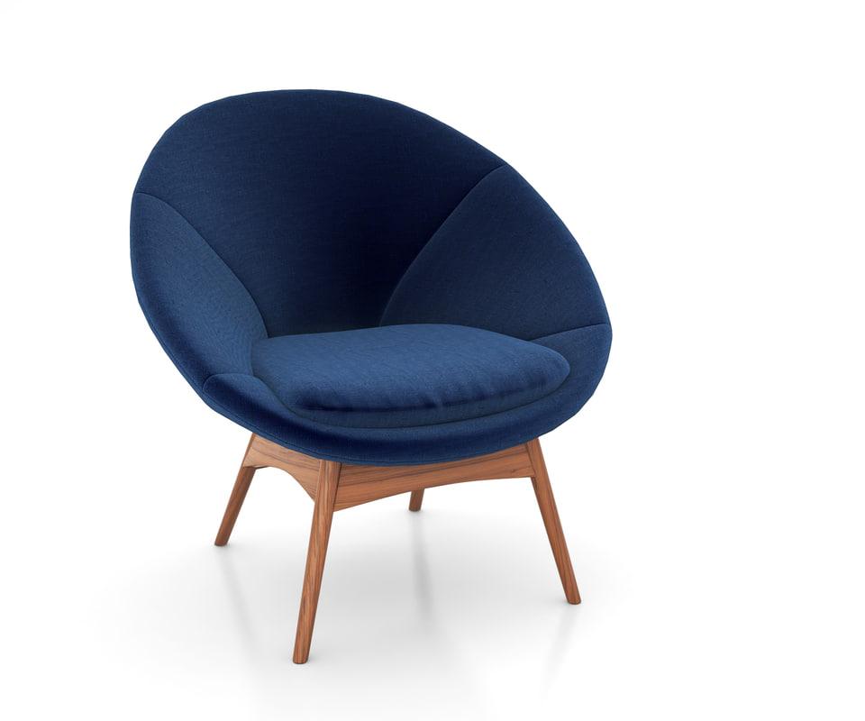luna chair west elm 3D model