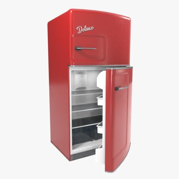 retro refrigerator fridge 3D model