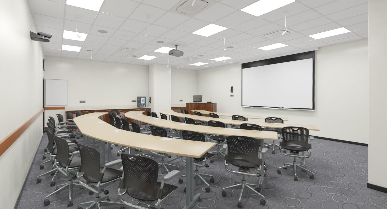 3D class room realistic model