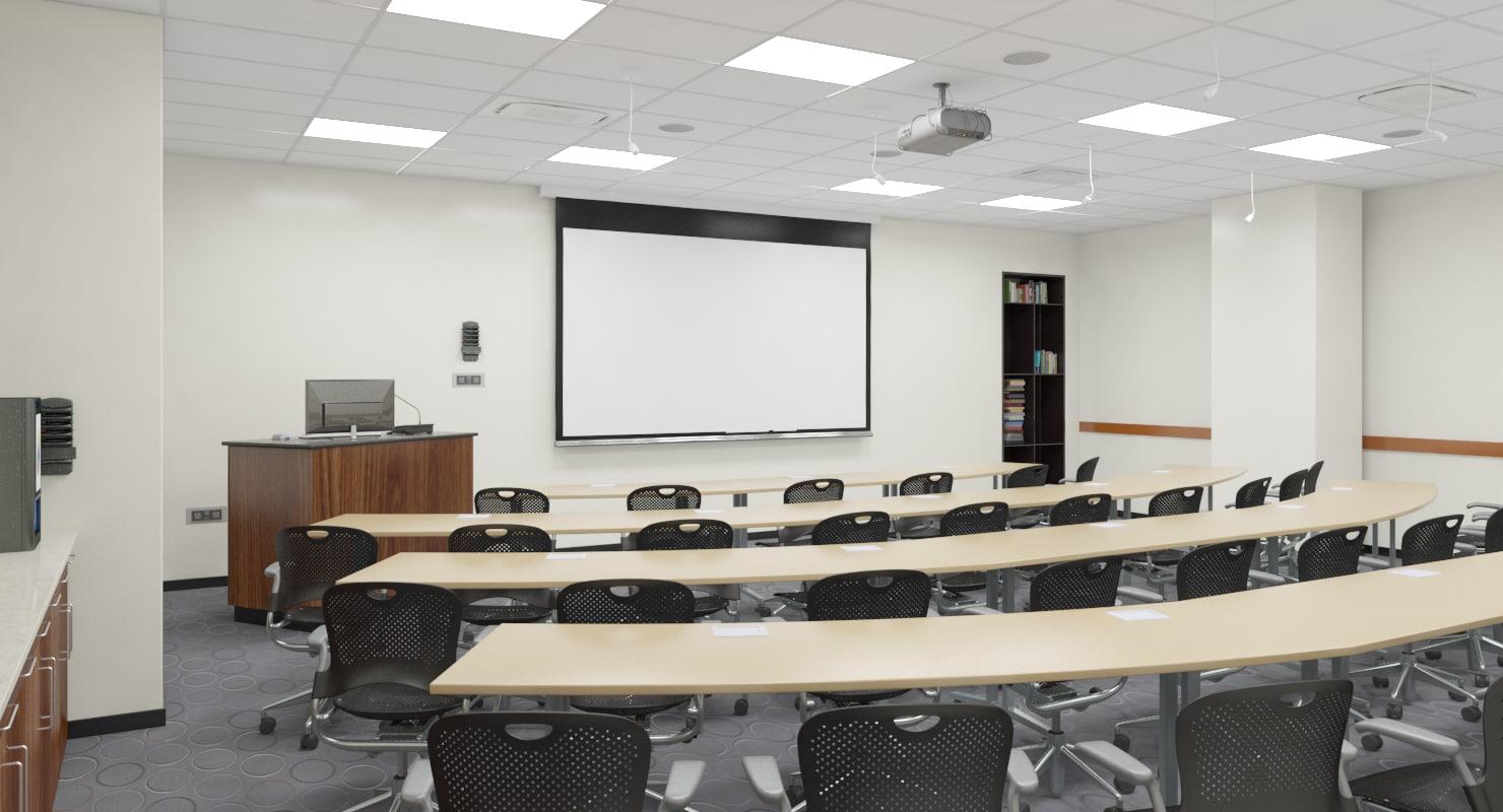class room realistic 3D model