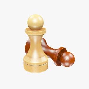chess pawns 3D