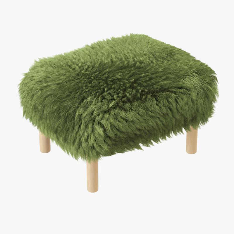3D footstool bronwen sheepskin