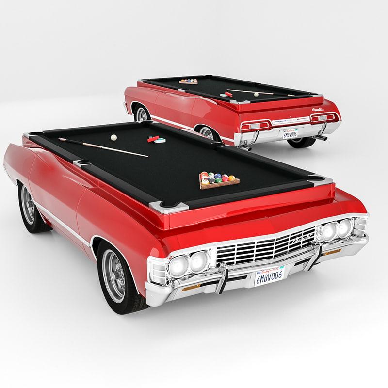Chevrolet Impala Billiard Table D Model TurboSquid - Car pool table