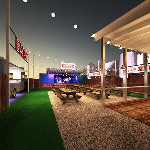 beer garden 3D