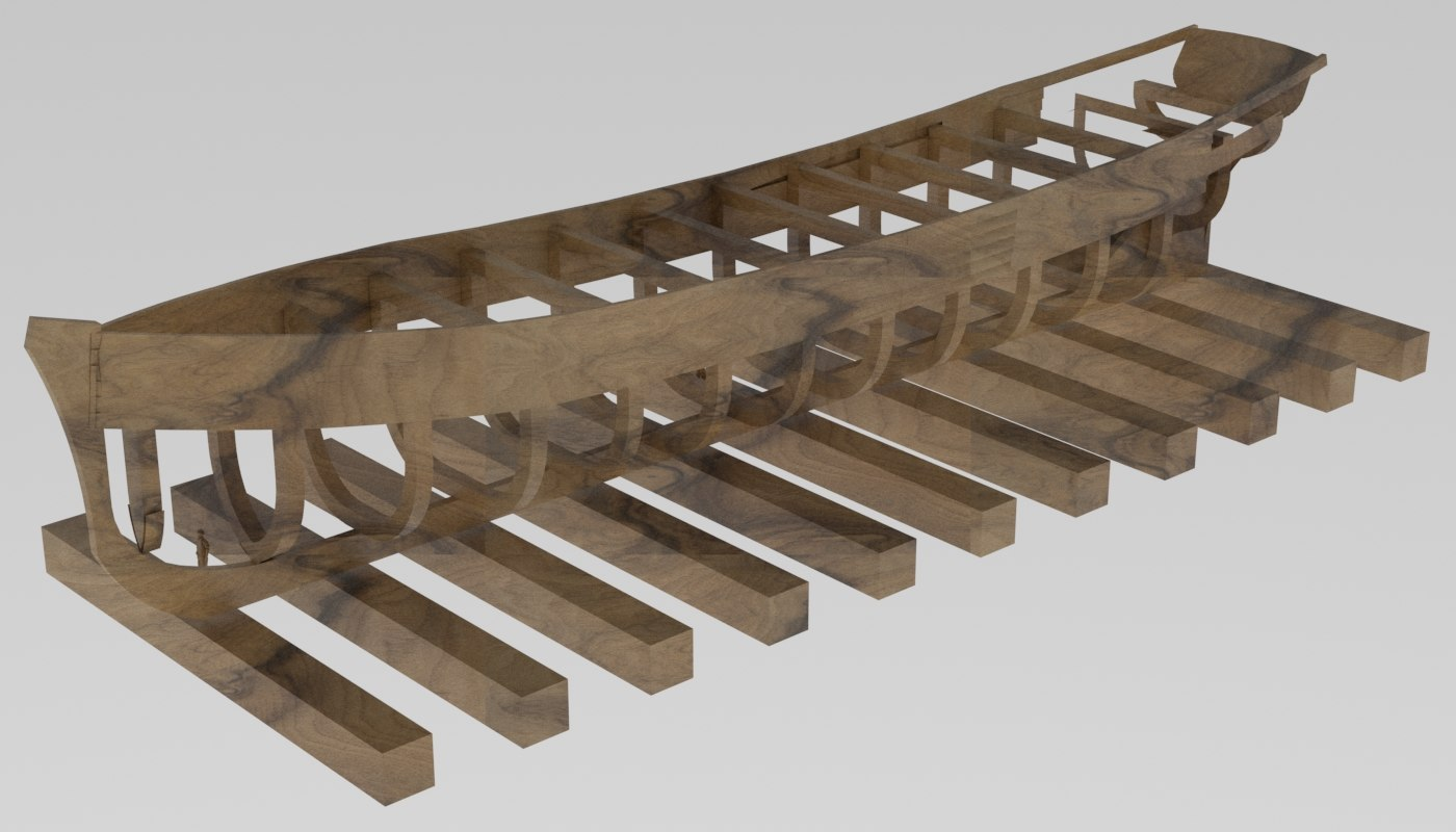 3D sailing ship frame model