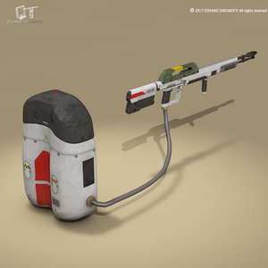 3D sci-fi flamethrower
