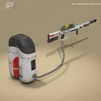 3D sci-fi flamethrower model