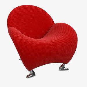 leather armchair fabric 3D