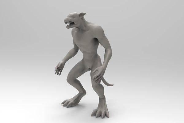 3D werewolf wolfman