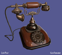 3D old vintage antique phone