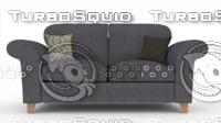 3D model angelic sofa 2 seater