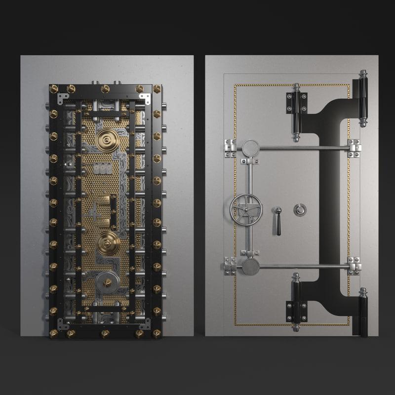 vintage safe door mosler 3D model