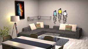 3D dining living room model