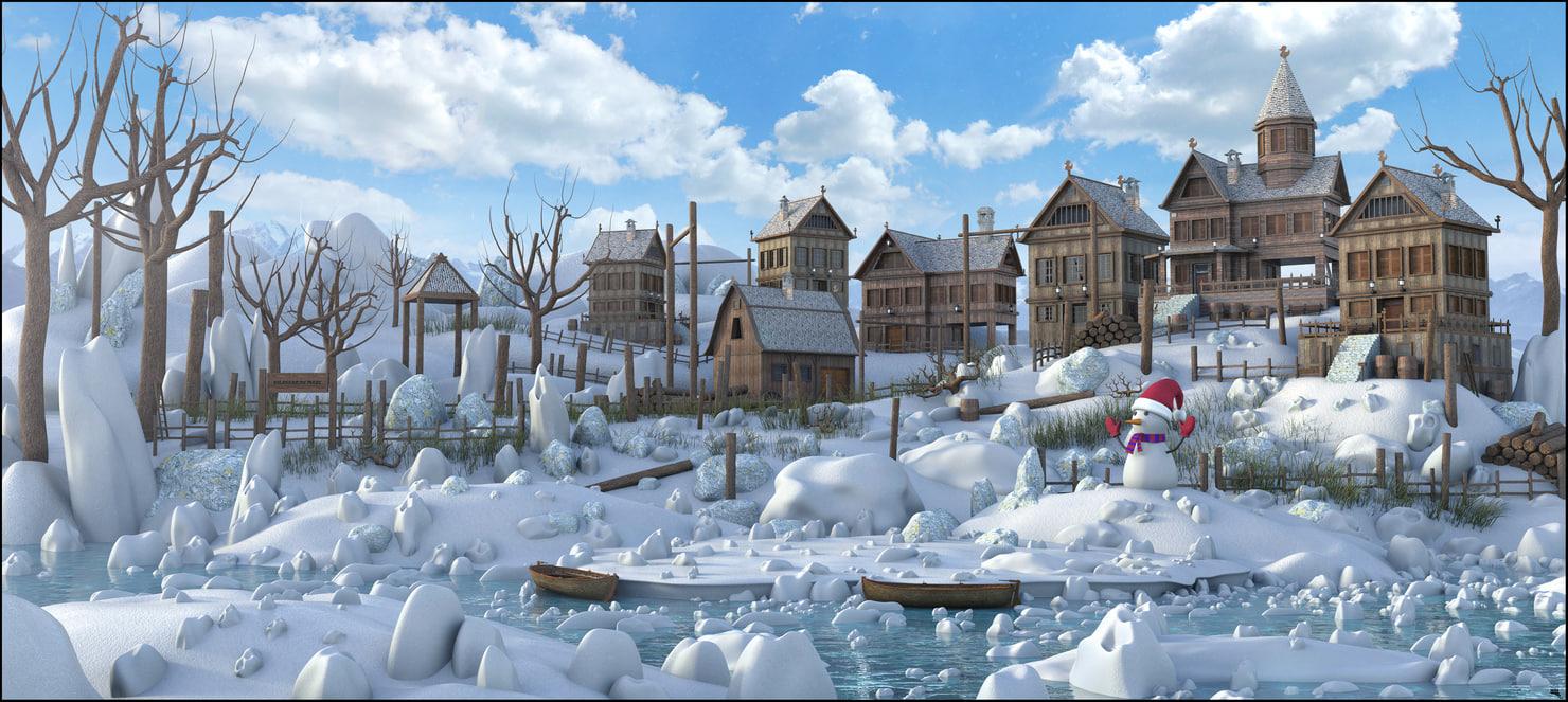 town snow rustic model