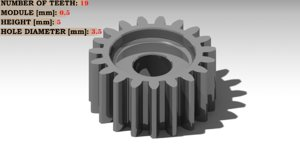 3D spur gear teeth: 19