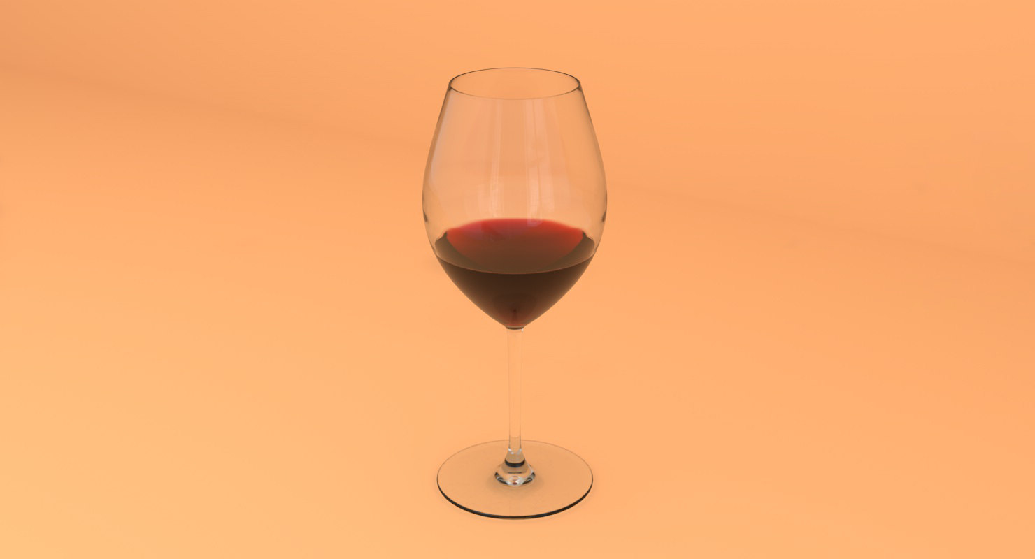 3D bordeaux stem red wine model